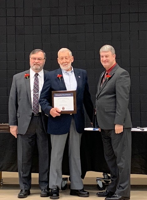Several of our school board members were recently recognized for their years of service. Last night, these members also conducted their first virtual school board meeting to address the business of our district. Thank you for your service and for setting an example of adaptation during this time.  School Board Service Award Recipients: Dr. Robert Allen - 35 years Mrs. Joyce Reives - 15 years Mr. Bob Luby - 15 years Mr. Andy Hite - 15 years (Dr. Allen and Mr. Luby are pictured)